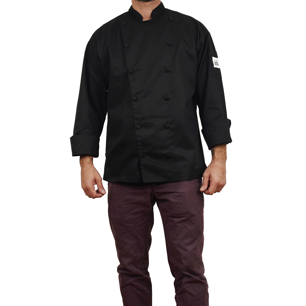 Black chef revival cuisinier chef 39 s jacket extra large for Cuisinier extra