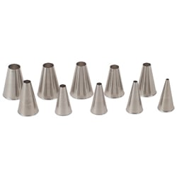 Set Of 10 Plain Style Pastry Tips