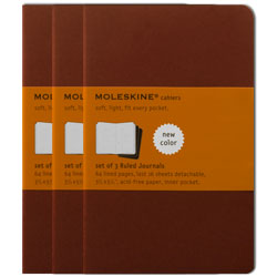Moleskine Ruled Cahier - Red - Pack of 3 Journals