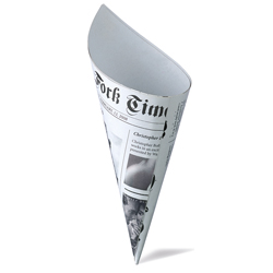 "Newsprint Cardboard Cone - 4.75"" height x 2.5"" diameter"