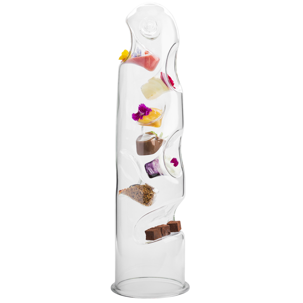 Glass canape tower for Canape display stands