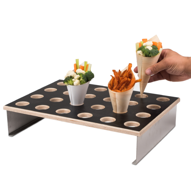 Wood and black veneer cone holder display 24 holes for Canape display stands