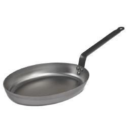 Heavy French Steel  Oval Fry Pan - 12 x 9 inch.