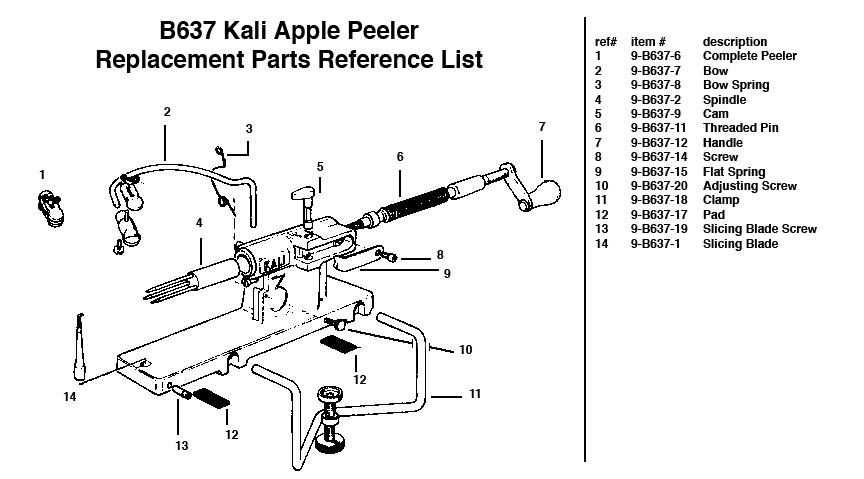 Kali Apple Peeler Replacemnet Parts Diagram
