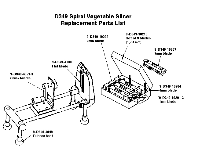 Spiral Vegetable Slicer Replacemnet Parts Diagram