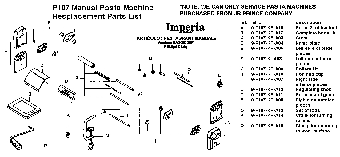 Manual Pasta Machine Replacemnet Parts Diagram