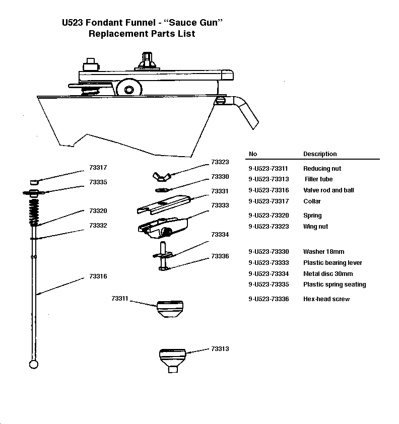 Automatic Funnel Replacemnet Parts Diagram
