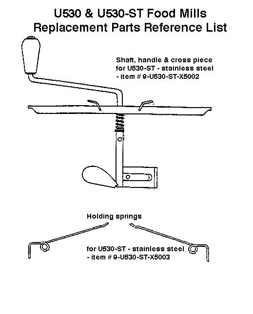 French Food Mill Replacemnet Parts Diagram