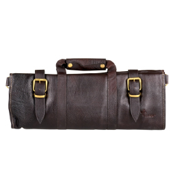 Boldric Brown Leather Knife Bag - 18 Pockets