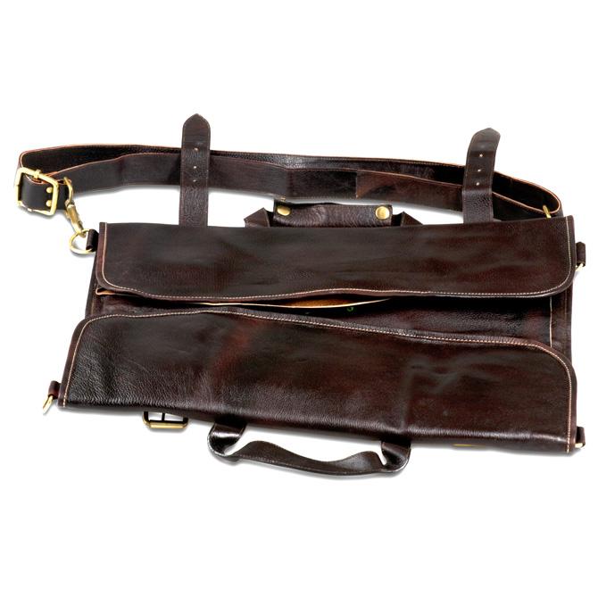 Boldric 18 Pockets Leather Knife Bag Brown