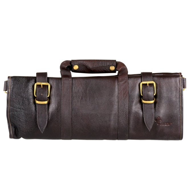 boldric brown leather knife bag with 18 pockets. Black Bedroom Furniture Sets. Home Design Ideas