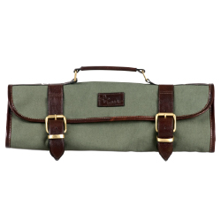 Boldric Green Canvas Knife Bag - 9 Pockets
