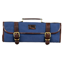 Boldric Blue Canvas Knife Bag - 9 Pockets