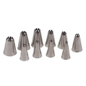 Set Of 10 Closed Star Pastry Tips