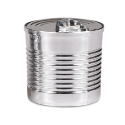 Plastic Silver Tin Can with Lid, 2 oz.