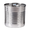 Plastic Silver Tin Can with Lid, 3.7 oz.