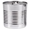 Plastic Silver Tin Can with Lid, 7.4 oz.