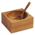 Teak Square Salt Cellar with Teak Spoon