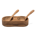 Teak Salt and Pepper Server with Spoons