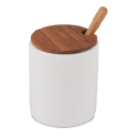 Ceramic Mini Cellar with Teak Lid and Spoon