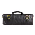 Boldric Black Leather Knife Bag - 18 Pockets
